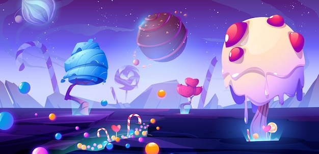 Конфетная планета карикатура иллюстрации с фантастическими инопланетными деревьями и сладостями волшебный необычный природный ландшафт