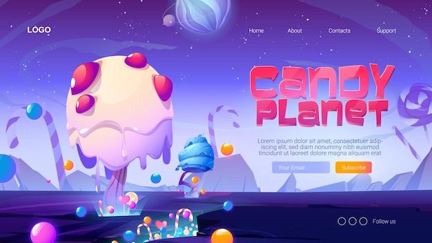 Candy planet cartoon landing page with fantasy alien trees and sweets magic unusual nature landscape for computer game