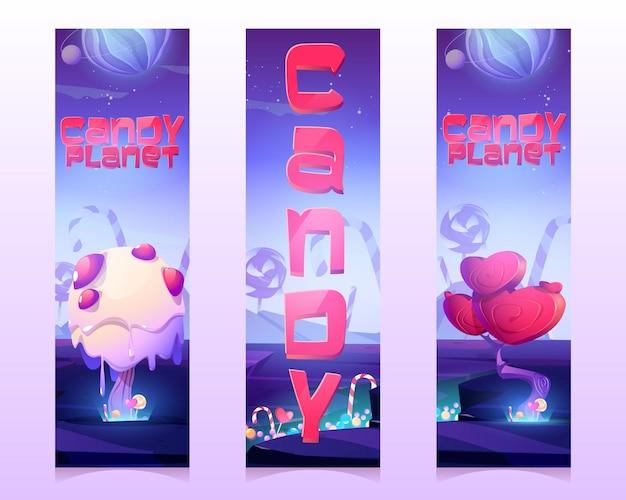 Banner verticali di candy planet con alberi insoliti di crema e caramello in bastoncini di zucchero a forma di cuore e...