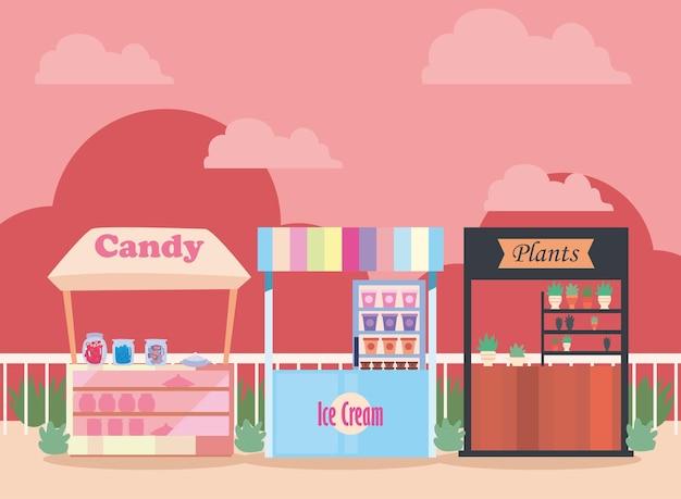 사탕 식물과 아이스크림 시장 디자인 일러스트 레이션