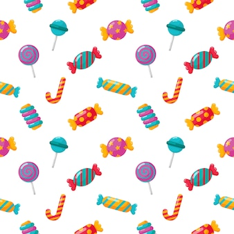 Candy seamless pattern with different types on white
