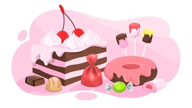 Набор конфет. сбор сладкого десерта. леденец