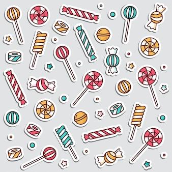 キャンディは振りかける、スパイラルとキャラメルのカラフルなお菓子のイラストが線形のロリポップを設定します。ステッカー、キャンディショップのピン。