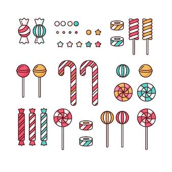 キャンディは振りかける、スパイラルとキャラメルのカラフルなお菓子のイラストが線形のロリポップを設定します。