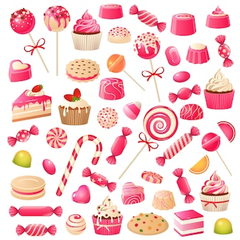 Набор конфет. сладкие десерты, шоколадные конфеты, зефир и драже. шоколадное печенье кексы, набор сладких леденцов