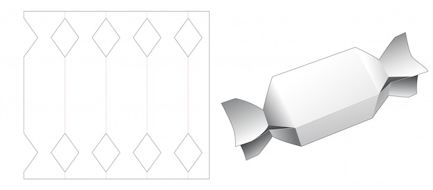 Candy shaped packaging box die cut template