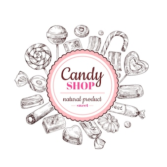 Candy shop background. sketch chocolate candy, lollipop and marmalade sweets, hand drawn vector label