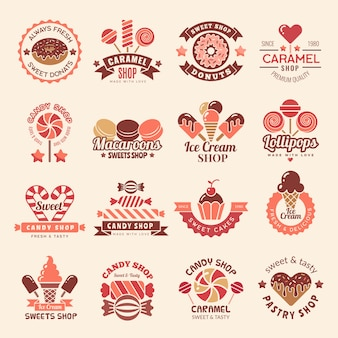 Candy shop badges. sweets cookie cupcakes lollipop symbol for confectionary logos collection
