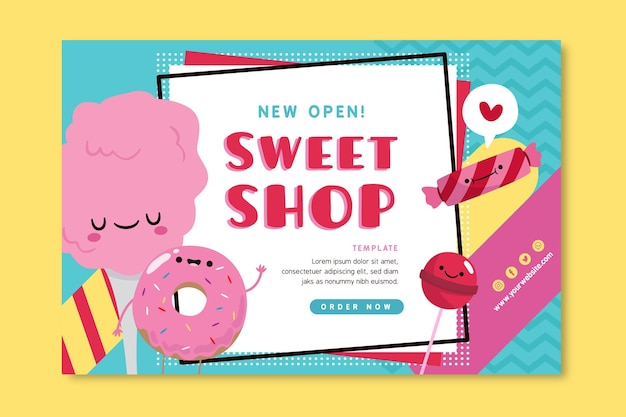Candy shop banner template with illustrations