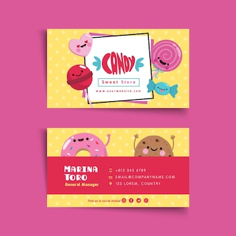Candy shop business card template illustrated