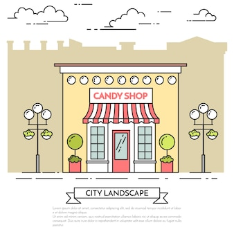 Candy shop, cafe with lamps, flowers on city background. vector illustration. line art.