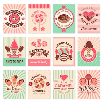 Candy shop cards. sweet food desserts confectionary symbols for restaurant menu flyer collection