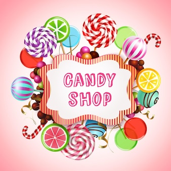 Candy shop composition with realistic  sweet caramel products and lollies with text in frame