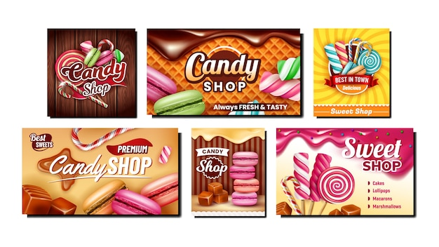 Candy shop creative promotional banners set