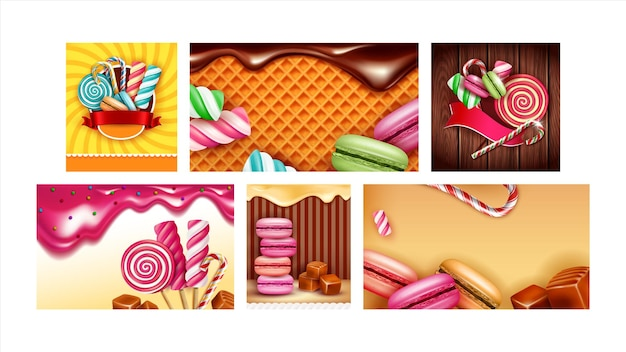 Candy shop creative promotional posters set vector. macaroons and waffles, lollipop and marshmallows, toffee and caramel candy store products advertise banners. color concept layout illustrations