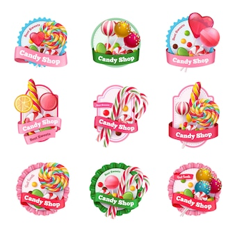 Candy shop emblems set