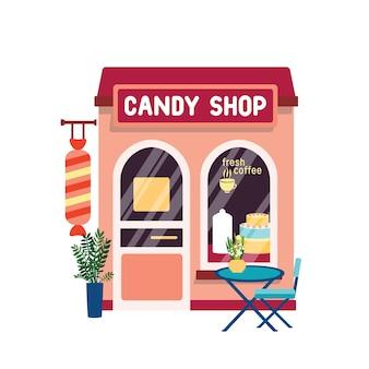 사탕 가게 평면 벡터 일러스트 레이 션. 고립 된 쇼케이스에서 케이크와 제과점 외관
