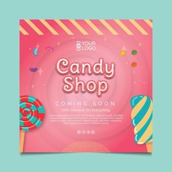 Modello di volantino per negozio di caramelle