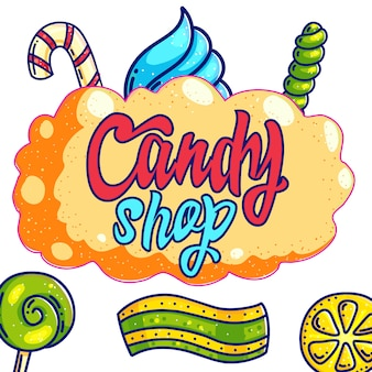 Candy shop hand drawn  logo design