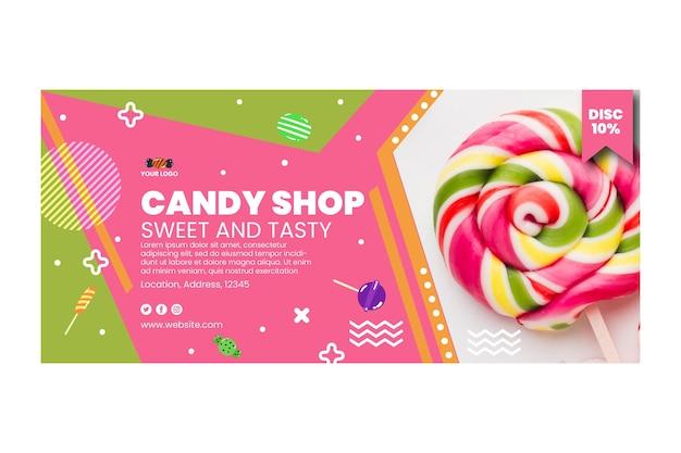 Modello di banner orizzontale negozio di caramelle