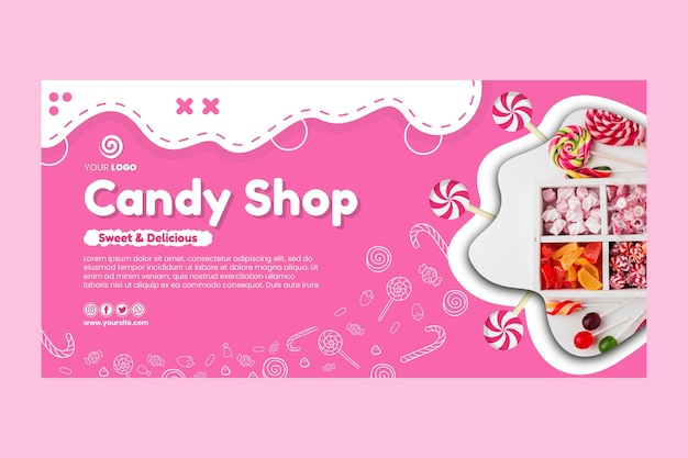 Candy shop horizontal banner template