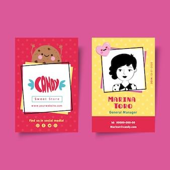 Modello di carta d'identità del negozio di caramelle
