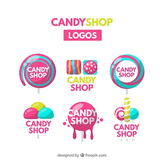 Коллекция логотипов для конфетных магазинов для компаний