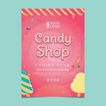 Candy shop poster template