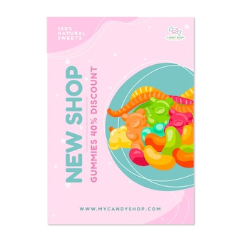 Плакат кондитерского магазина со сладостями