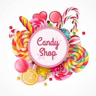 Candy shop round frame background