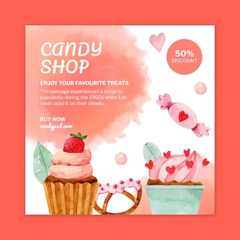 Candy shop square flyer template