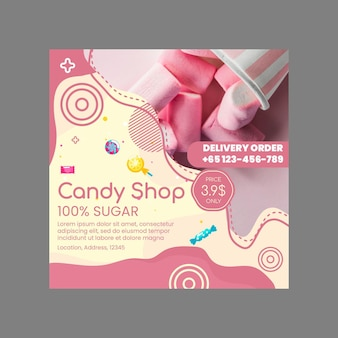 Candy shop squared flyer template