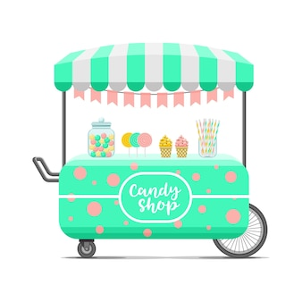 Candy shop street food cart. colorful  illustration, cute style, isolated on white background