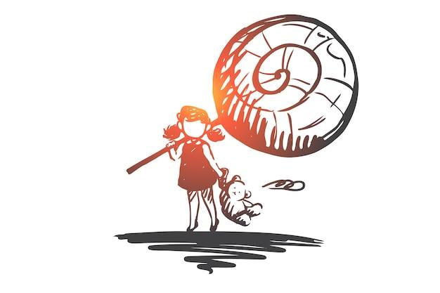 Магазин конфет, сладкое, карамель, девушка, концепция леденца на палочке. нарисованная рукой маленькая девочка с эскизом концепции большой леденец.