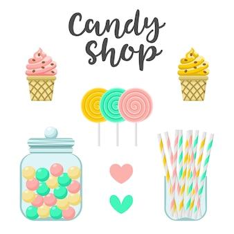 사탕 가게 과자 생성자. 다채로운 그림, 귀여운 스타일, 흰색 배경에 고립