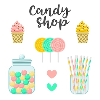 Candy shop sweets constructor. colorful  illustration, cute style, isolated on white background