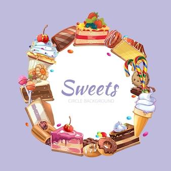 Manifesto di vettore del negozio di caramelle. pasticceria torta, spuntino dolce da forno, illustrazione di cioccolato crema