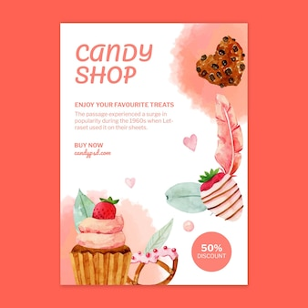 Candy shop vertical flyer template