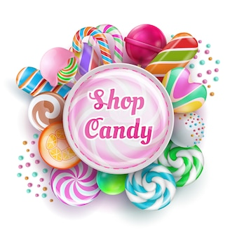 Candy shop with sweet realistic candies, sweets, caramel, rainbow lollipops and cotton candy. vector illustration