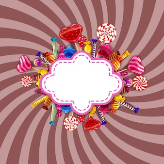 Candy sweet shop frame with different colors of candy, candy, sweets, chocolate candy, jelly beans