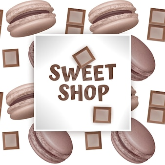 Candy sweet shop template with realistic macarons and pieces of chocolate.