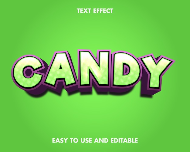 Candy text effect. editable font style.