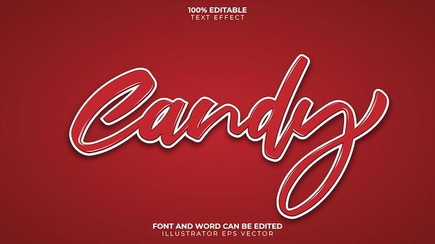 Эффект конфетного текста, полностью редактируемый, красный и белый, блестящий