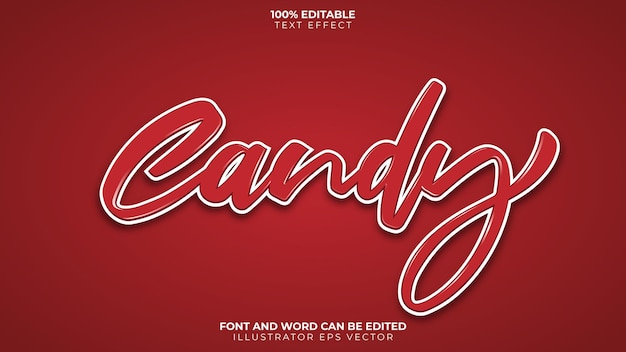 Candy text effect full editable red and white shiny