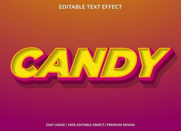 Candy text effect template premium style