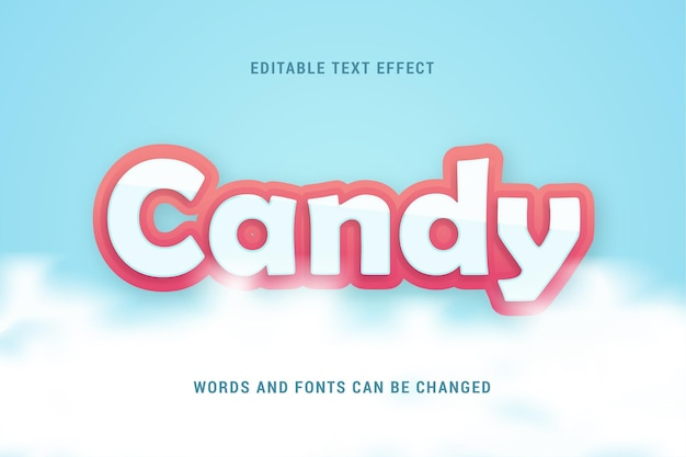Candy text effect with clouds 100 editable vector image