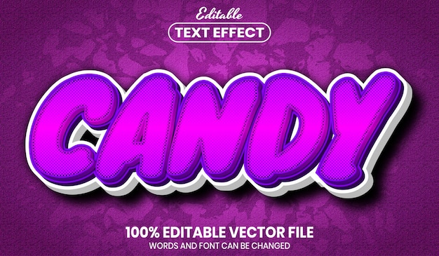 Candy text, font style editable text effect