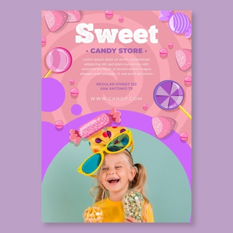 Candy vertical flyer template with child