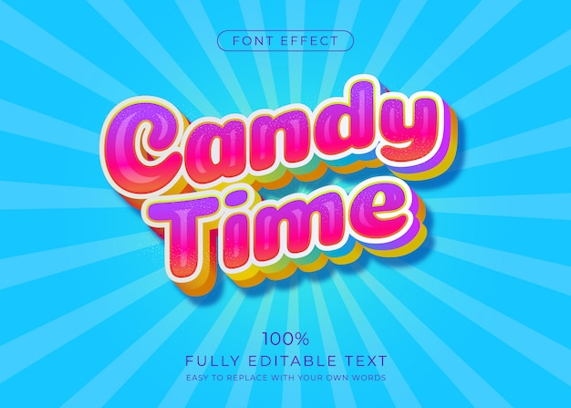 Симпатичный текстовый эффект candy, стиль шрифта