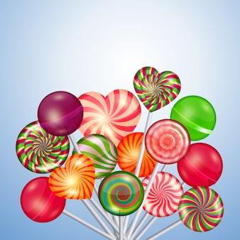 キャンディー、お菓子、ロリポップの背景。食品とキャンディー、砂糖デザートとカラースパイラル、